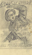 Rough pencil sketch on white paper of a soldier waving his arm for others to follow him. Text at top and bottom