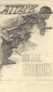 A rough pencil sketch on white paper of three people holding tools and leaning forward. Text at top and bottom