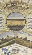 Colour poster of three prairie scenes: a wheat field, horse drawn wagon and a farm house. Title at top