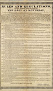 Broadside listing regulations, printed in black on light-brown paper, signed J.S. Reid and George Pyke. Printer's ornamental border along the edges. Title at top