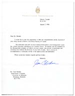 Letter from Prime Minister Jean Chrétien, dated August 2, 1996, congratulating Shields on her appointment to the Royal Society of Canada