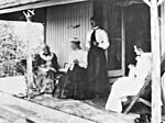 Photograph of Catharine Parr Traill on the verandah of Westove, 1899
