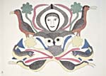 Lithograph, THE WORLD AROUND ME, by Kenojuak Ashevak