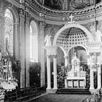 Photograph of the interior of the basilica at Saint-Anne-de-Beaupré, Quebec, 1889