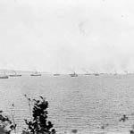 Photograph showing a convoy of ships leaving the Saint Lawrence for open water, Gaspé, Quebec, 1914
