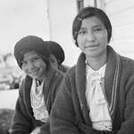 Photograph of three Dogrib girls, Northwest Territories, 1937