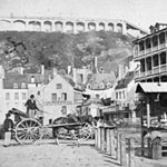 Stereograph showing market stalls set up in the lower town, Québec, circa 1860s