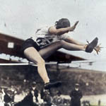 Photograph of Ethel Catherwood clearing the high jump at the Summer Olympics in Amsterdam, 1928