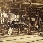 Photograph of the TREVITHICK railway engine under construction