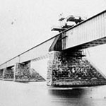 Stereograph showing the construction of the Victoria Bridge, Montréal, 1859