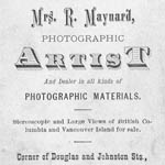 Photograph of the back of the carte-de-visite of photographer Hannah Maynard, circa 1868-1878