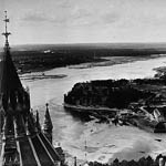 Photograph showing the Ottawa River and entrance to the Rideau Canal, taken from the Library of Parliament, Ottawa, circa 1885-1898