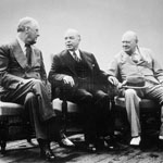 Photograph of Franklin D. Roosevelt, William Lyon Mackenzie King and Winston Churchill, Québec, 1943