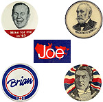 Assorted election campaign buttons